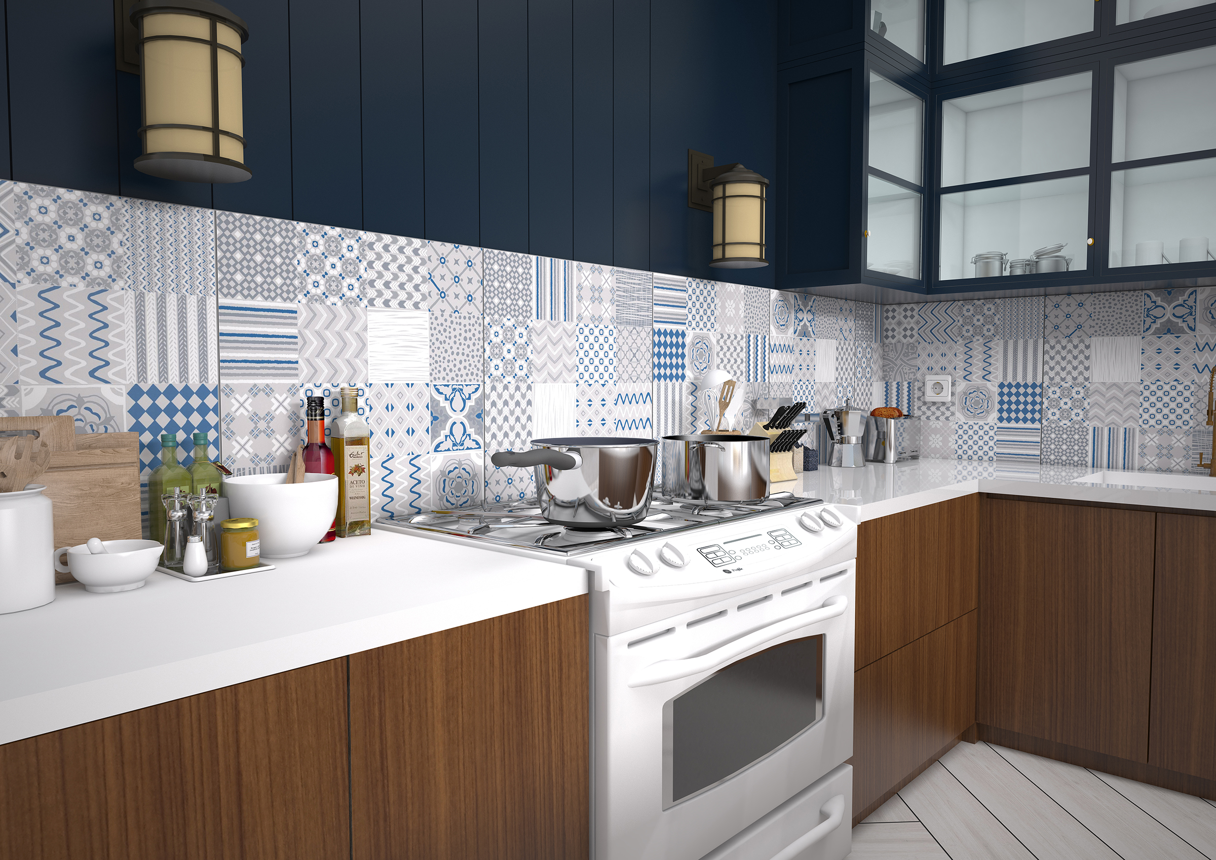 backsplash kitchen blue