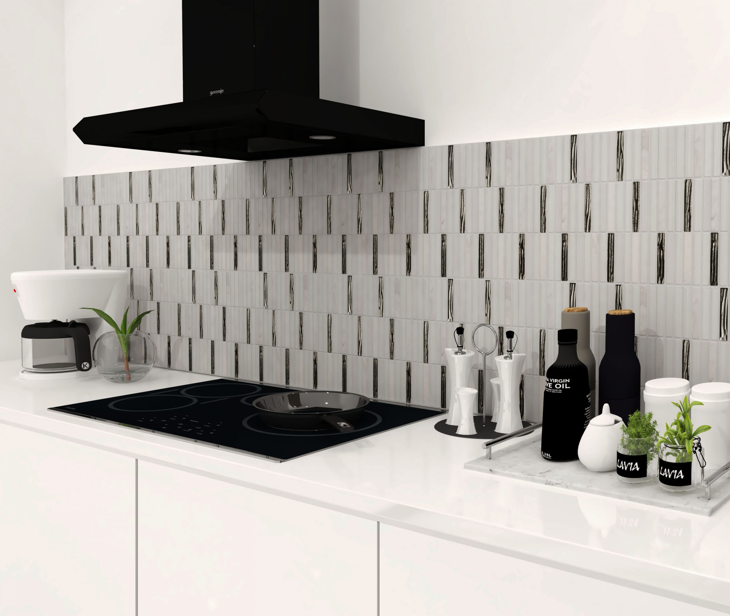 backsplash kitchen black